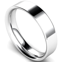 Flat court profile wedding ring in white gold, 5mm width