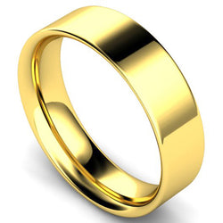 Flat court profile wedding ring in yellow gold, 6mm width
