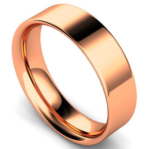 Flat court profile wedding ring in rose gold, 6mm width