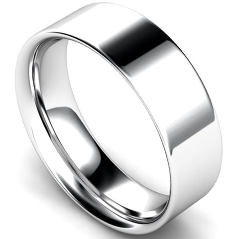 Flat court profile wedding ring in white gold, 6mm width