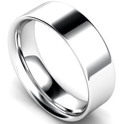Flat court profile wedding ring in platinum, 6mm width