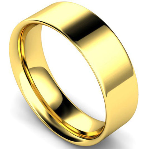 Flat court profile wedding ring in yellow gold, 7mm width