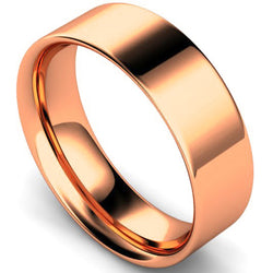 Flat court profile wedding ring in rose gold, 7mm width