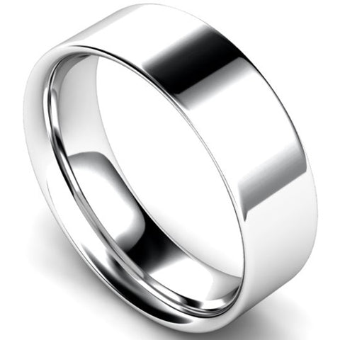 Flat court profile wedding ring in platinum, 7mm width