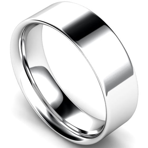Flat court profile wedding ring in white gold, 7mm width