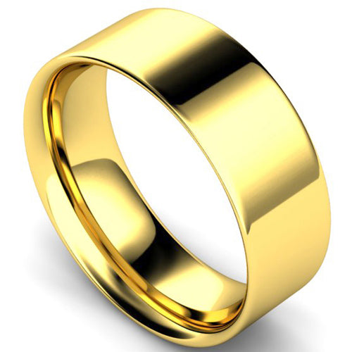 Flat court profile wedding ring in yellow gold, 8mm width