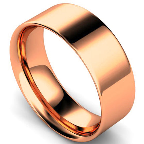 Flat court profile wedding ring in rose gold, 8mm width
