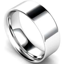 Flat court profile wedding ring in platinum, 8mm width