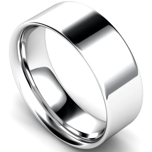 Flat court profile wedding ring in white gold, 8mm width