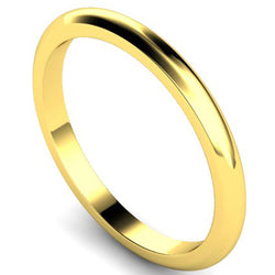 D-shape profile wedding ring in yellow gold, 2mm width