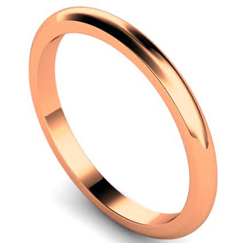 D-shape profile wedding ring in rose gold, 2mm width