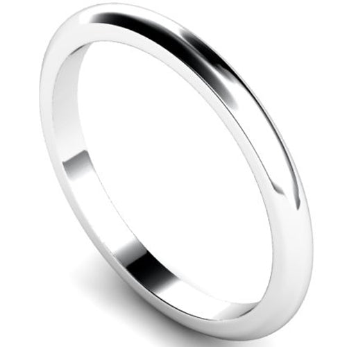 D-shape profile wedding ring in white gold, 2mm width