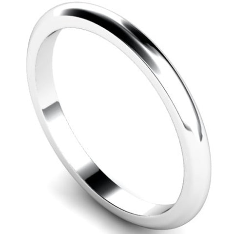 D-shape profile wedding ring in platinum, 2mm width