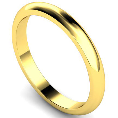 D-shape profile wedding ring in yellow gold, 2.5mm width