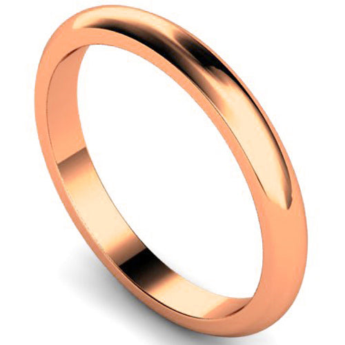 D-shape profile wedding ring in rose gold, 2.5mm width