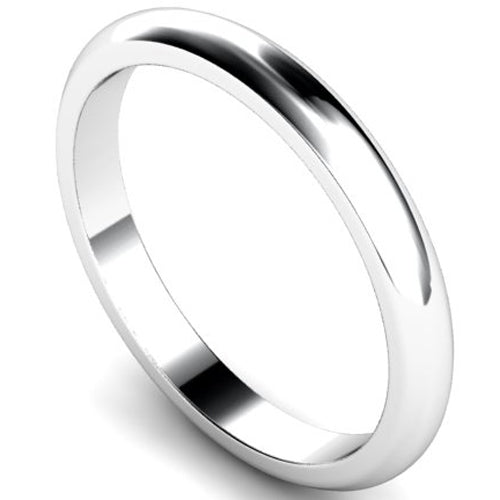 D-shape profile wedding ring in white gold, 2.5mm width