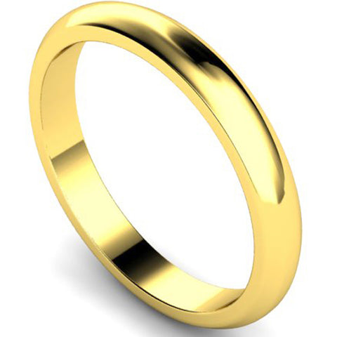 D-shape profile wedding ring in yellow gold, 3mm width