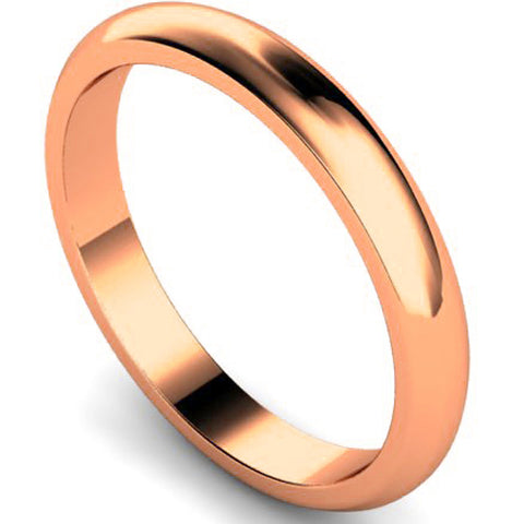D-shape profile wedding ring in rose gold, 3mm width