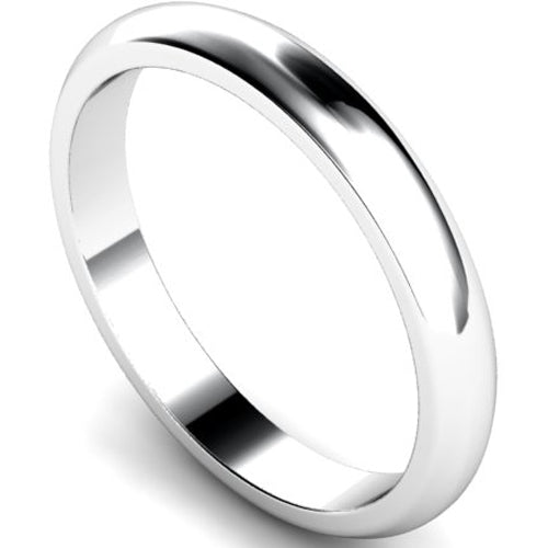 D-shape profile wedding ring in white gold, 3mm width