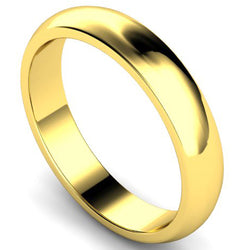 D-shape profile wedding ring in yellow gold, 4mm width