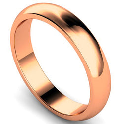 D-shape profile wedding ring in rose gold, 4mm width