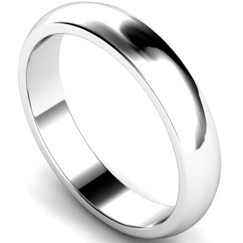 D-shape profile wedding ring in white gold, 4mm width