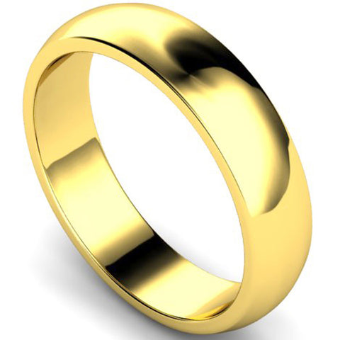 D-shape profile wedding ring in yellow gold, 5mm width