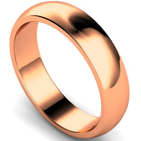 D-shape profile wedding ring in rose gold, 5mm width