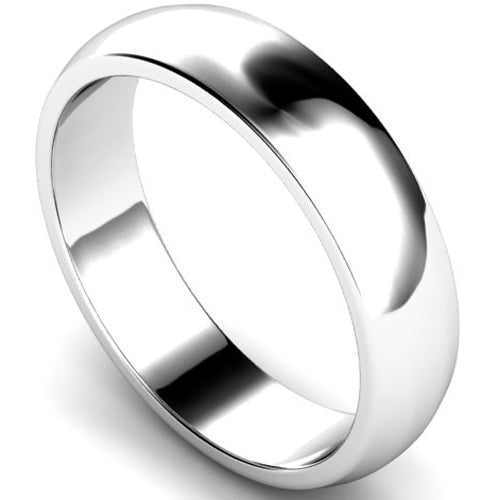 D-shape profile wedding ring in white gold, 5mm width