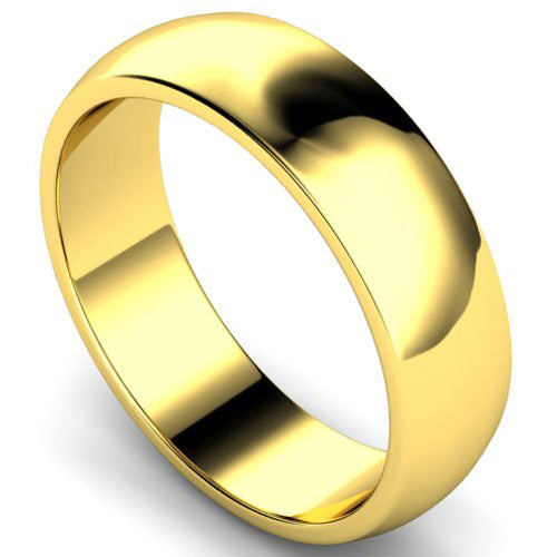 D-shape profile wedding ring in yellow gold, 6mm width