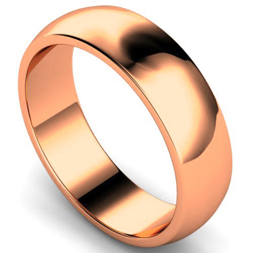 D-shape profile wedding ring in rose gold, 6mm width
