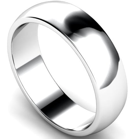 D-shape profile wedding ring in white gold, 6mm width