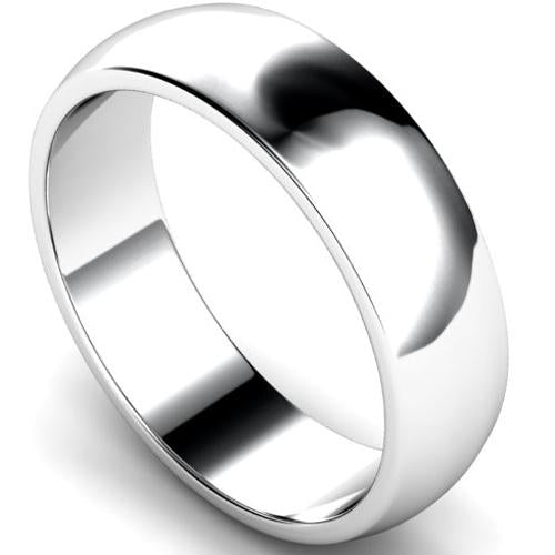 D-shape profile wedding ring in platinum, 6mm width