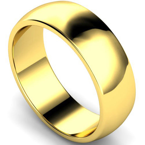 D-shape profile wedding ring in yellow gold, 7mm width