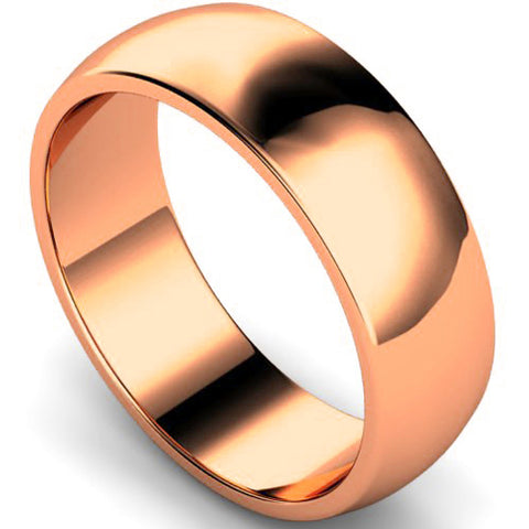 D-shape profile wedding ring in rose gold, 7mm width