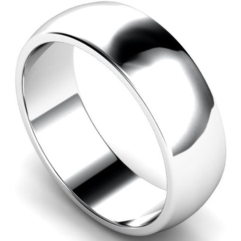 D-shape profile wedding ring in platinum, 7mm width