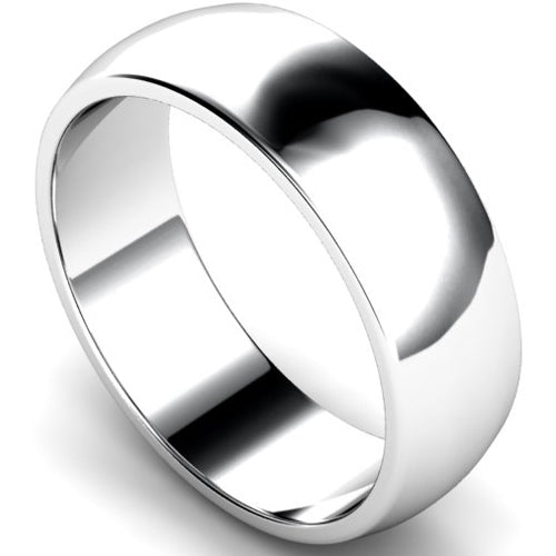 D-shape profile wedding ring in white gold, 7mm width