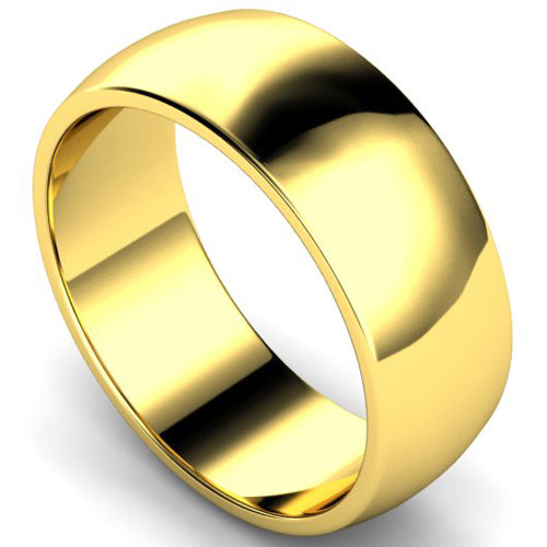 D-shape profile wedding ring in yellow gold, 8mm width