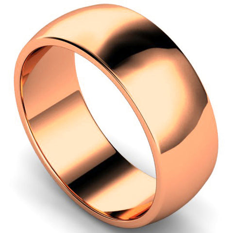 D-shape profile wedding ring in rose gold, 8mm width