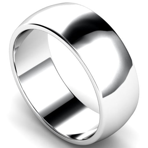 D-shape profile wedding ring in white gold, 8mm width