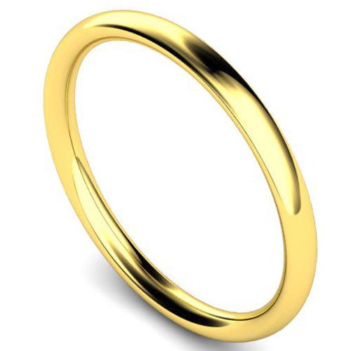Traditional court profile wedding ring in yellow gold, 2mm width