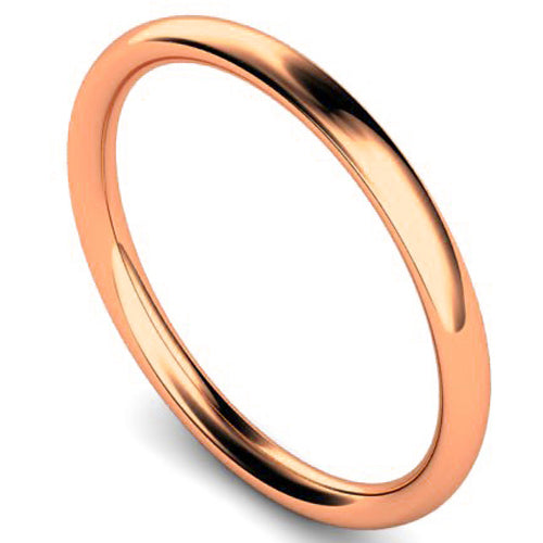 Traditional court profile wedding ring in rose gold, 2mm width