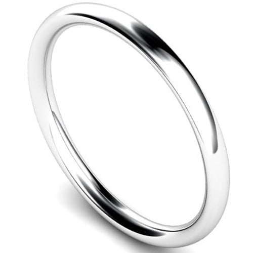 Traditional court profile wedding ring in white gold, 2mm width