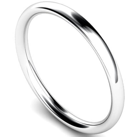 Traditional court profile wedding ring in platinum, 2mm width