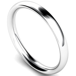 Traditional court profile wedding ring in white gold, 2.5mm width