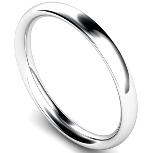 Traditional court profile wedding ring in platinum, 2.5mm width