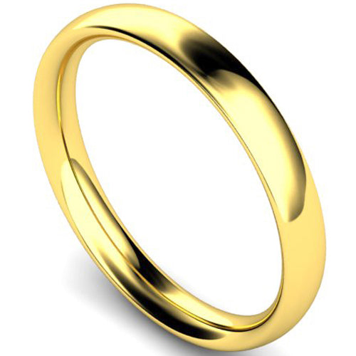 Traditional court profile wedding ring in yellow gold, 3mm width