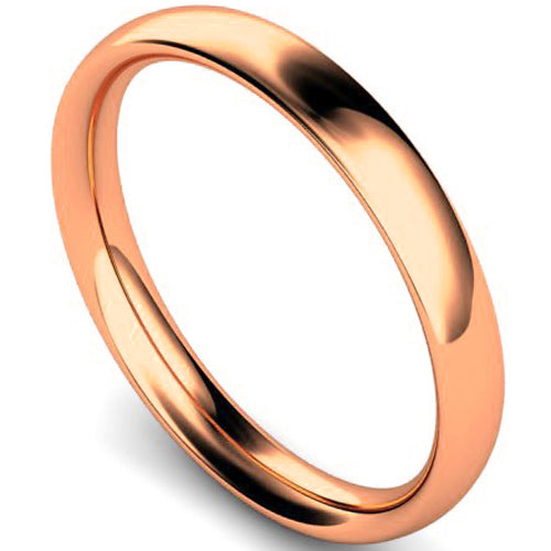 Traditional court profile wedding ring in rose gold, 3mm width