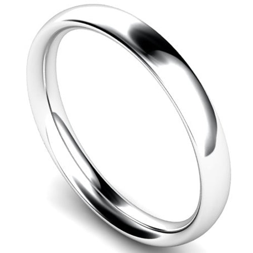 Traditional court profile wedding ring in white gold, 3mm width