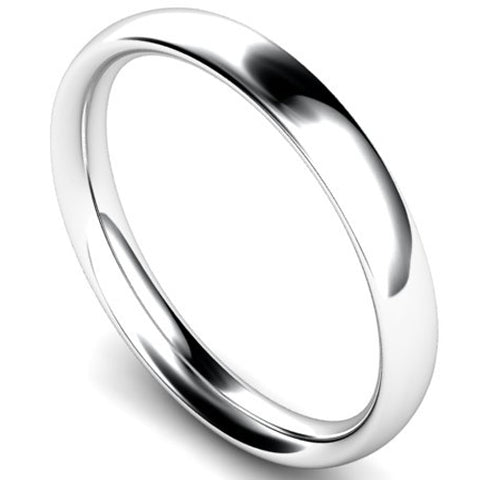 Traditional court profile wedding ring in palladium, 3mm width